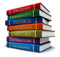 Stack of textbooks Stock Images