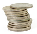 Stack of Thai coins (baht) Royalty Free Stock Images