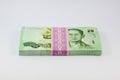 Stack of Thai money on white background Royalty Free Stock Photo