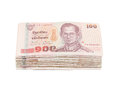 Stack of thai one hundred type banknotes on white background with clipping path Stock Photography