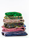 Stack of thai silk product from thailand handmade Stock Photos