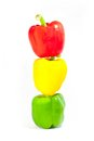 Stack of three bell peppers Royalty Free Stock Photo