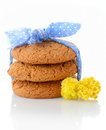 Stack of three homemade oatmeal cookies tied with blue ribbon in small white polka dots and tiny yellow flowers