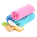 Stack of towels and soap Stock Photography