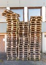 Stack Of Used Wooden Pallets