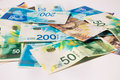 Stack of various of israeli shekel money bills Royalty Free Stock Photo