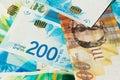 Stack of various of israeli shekel money bills - Top View Royalty Free Stock Photo