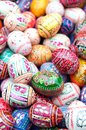 Stack various painted wooden easter eggs Stock Image
