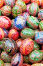 Stack various painted wooden easter eggs Royalty Free Stock Photos
