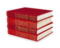 Stack of vintage red books Royalty Free Stock Photo