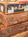 Stack of vintage suitcases travel concepts Royalty Free Stock Photo