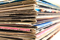 Stack of vinyl records in covers made of paper Royalty Free Stock Photo