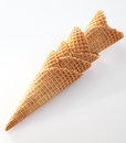 Stack of waffle cones for icecream Stock Images