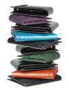 Stack of wallets on white background Stock Image