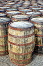 Stack of whisky casks and barrels horizontal detail stacked Stock Photos