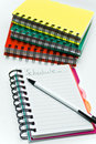 Stack of Wire Ring Notebooks Royalty Free Stock Photos