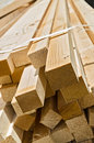 Stack of wooden rectangular blocks stacks at a construction site Stock Image