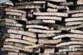 Stacked bark of cork oak Royalty Free Stock Photo