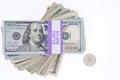 Stacked bundles of American 100 dollar bills Royalty Free Stock Photo