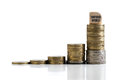 Stacked coins symbolizing compound interest effect with the word `compound interest` in German Royalty Free Stock Photo