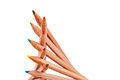 Stacked color pencils creatively of different colors on white Royalty Free Stock Photography