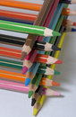 Stacked colored pencils Royalty Free Stock Images