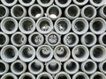 Stacked concrete drainage pipes abstract Royalty Free Stock Photography
