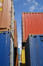 Stacked containers in seaport stockyard at limassol cyprus Royalty Free Stock Images