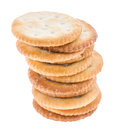 Stacked Crackers on white Royalty Free Stock Photo