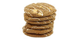 Stacked crunchy chocolate chip cookies with nuts decorated white on a brown background Stock Image
