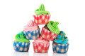 Stacked cupcakes colorful in red and blue Royalty Free Stock Image