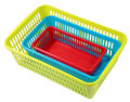 Stacked different size colorful perforated plastic containers, s Royalty Free Stock Photo
