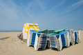 Stacked empty beds at the beach dutch Royalty Free Stock Images