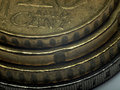 Stacked Euro coins - macro photo. Stock Image
