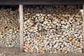 Stacked firewood in wood shed Royalty Free Stock Photo