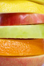 Stacked fruits sliced close up Royalty Free Stock Photo