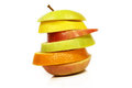 Stacked fruits sliced isolated close up Stock Images
