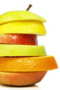 Stacked fruits sliced isolated close up Stock Photos
