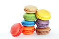 Stacked macaroons fun and colorful stacks of on white Stock Photos