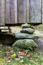 Stacked rock foundation pier under board and batten wall on a rustic Appalachian home Royalty Free Stock Photo