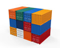 Stacked shipping container isolated on white background d render Stock Image