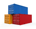 Stacked shipping container isolated on white background d render Stock Photography