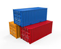 Stacked shipping container isolated on white background d render Stock Photos
