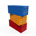 Stacked shipping container isolated on white background d render Royalty Free Stock Photography