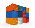 Stacked shipping container on white background d render Royalty Free Stock Images