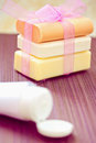 Stacked soaps and beauty lotion Royalty Free Stock Photography