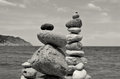 Stacked stones on the beach in ibiza Royalty Free Stock Photo