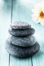 Stacked stones for a hot rock spa massage Royalty Free Stock Photo