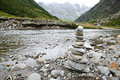 Stacked stones that indicate the direction path Stock Photography