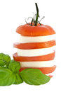 Stacked tomato mozzarella and fresh basil Stock Photography